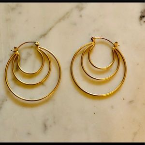 Anthropologie large gold metal hoop earrings